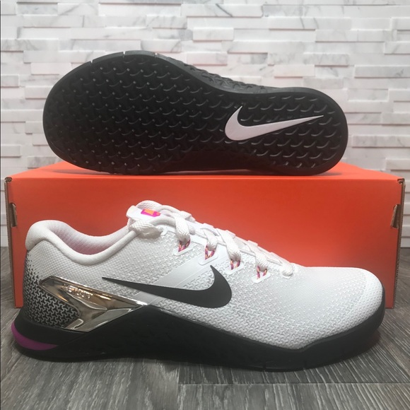 30b985338019 Women s Nike Metcon 4 White Black Fuchsia Trainers